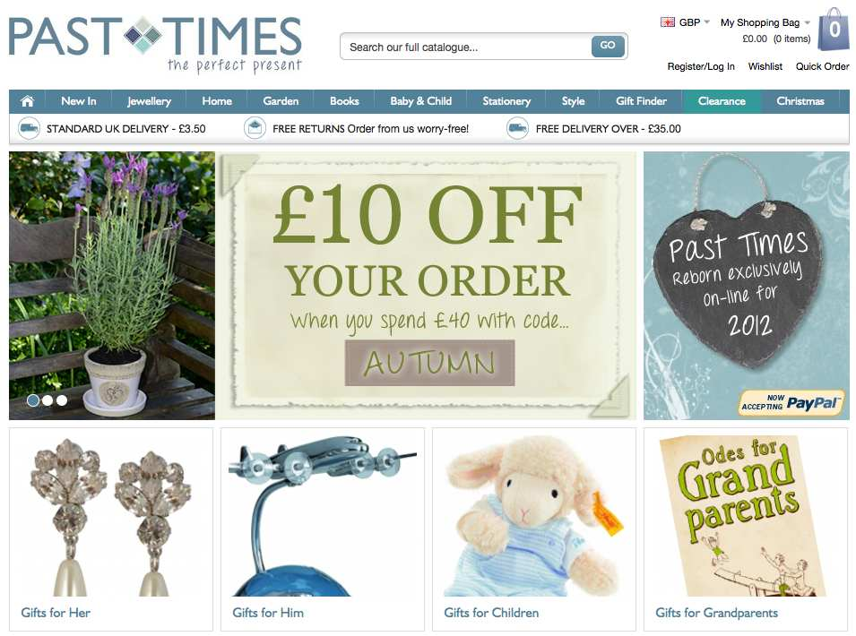 Past Times Launches Fresh New Website