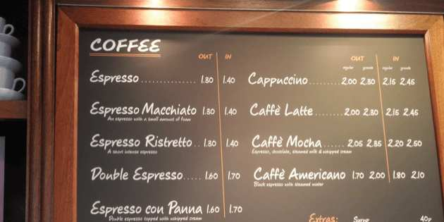 UK Coffee Prices Compared