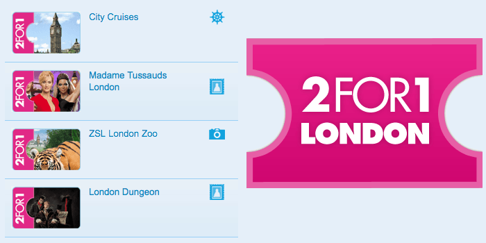 2 for 1 offers in London