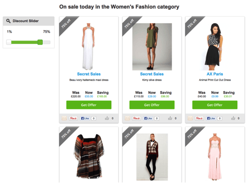 Finding a discount in women's fashion