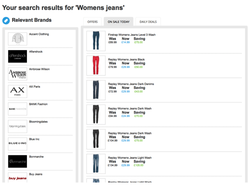 Finding a discount on women's jeans