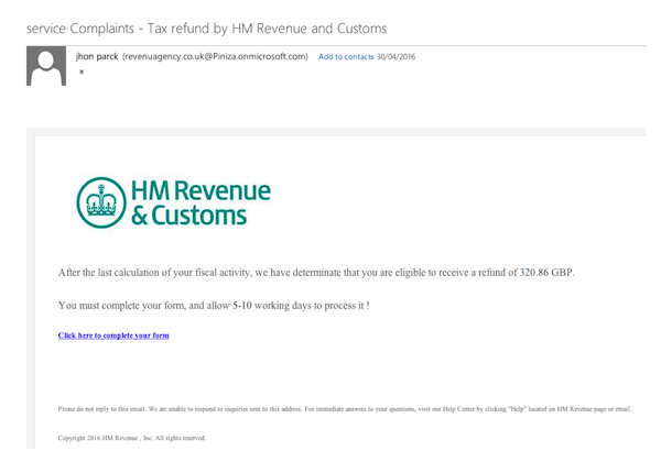 Example of HMRC Scam Email
